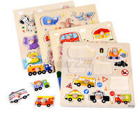 9PCS Wooden Board Peg Puzzle Jigsaw Early Educational Learning Kids Baby Toys