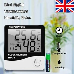 Digital LCD Thermometer Hygrometer Humidity Meter Room Indoor Temperature Clock.