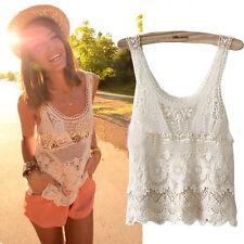 Boho Women Hippie Lace Crochet Summer Tank Tops Loose Casual Ladies Blouse Shirt