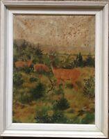 Cervi Capriolo Ricke Dipinto a Olio Liberty per Preparare Tiermaler Antico Frame