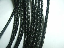 1/2/5 Meters 3MM Real Bolo Braided Leather Cord String Lace Thong Craft Jewelry