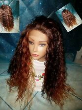 Lace Front Spiral Curl Afro Ombre High Temperature Fiber Curly Wig