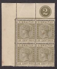 Gibraltar 1889-96 SG25 20c - Block of 4 with plate number 2 - MNH RARE (C11H)