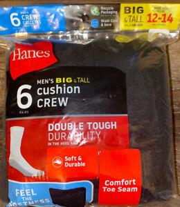 Hanes ~ 6-Pair Black Socks Crew Big & Tall Cushion Cotton ~ Shoe Size 12-14