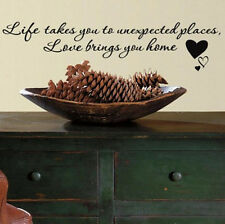 Quote: LOVE BRINGS YOU HOME wall stickers 9 decals inspirational bedroom decor