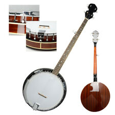 New 5 String Sapele & Metal Resonator Banjo with 24 Brackets Closed Back