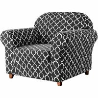 CANORA GREY Stretch Armchair Slipcover - Grey Gray Cloud Pattern