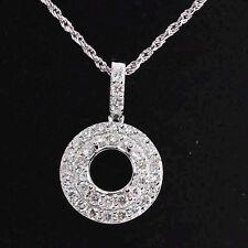 8.0mm Round Cut Solid 14Kt White Gold Diamond Semi Mount Anniversary Pendant