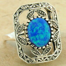 Antique Style .925 Sterling Silver Australian Blue Lab Opal Ring Size 10, #1048