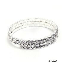 Wedding Shiny Full of Rhinestones Wire Bridal Party 3 Rows Bangle Bracelet BB104