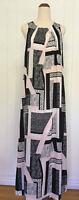 Peter Morrissey size 10 Black white pale pink geometric print maxi dress