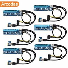 2018 PCI-E Riser 6-Pack - 1x to 16x 6-pin SATA Powered Adapter & USB3.0
