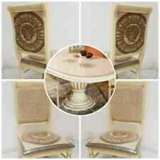 Versace Style Rossella Italian Dining Table with 6 Medusa Head Chairs Beige/Gold