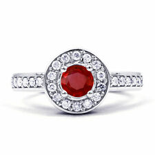 Cluster Ruby Round Not Enhanced Fine Gemstone Rings