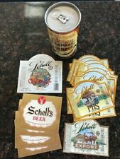 17 vintage Schell Beer labels and one Hubbell House Beer can by Schell