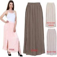 Womens Long Chiffon Maxi Dress Pleated Boho Skirt Ladies Side Splits Size 6 - 24