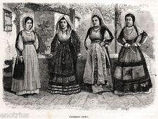 Costumi Sardi: Femminili. Sardegna. Sardinia. Stampa Antica + Passepartout. 1886