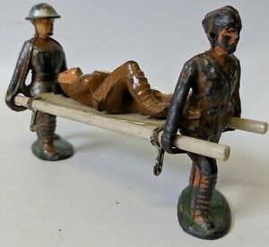 Vintage MANOIL Stretcher Carrier Bearer & Wounded Soldier Lead Toy Soldiers Lot