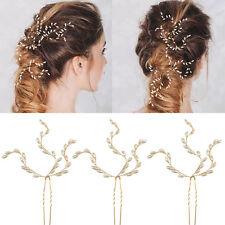 Fashion Golden Wedding Bridal Pearl Flower Leaves Crystal Hair Pins Clip