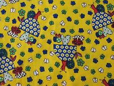 yellow mushroom butterflies vtg fabric 2 1/3 yds blue green white red