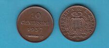 SAN MARINO CENTESIMI 10 RAME CON SFUMATURA RAME ROSSO FDC 1937 VEDI FOTO