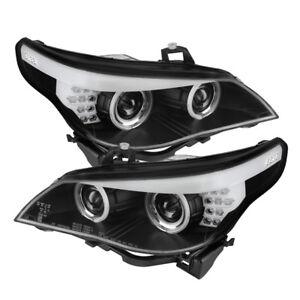BMW 04-07 E60 5-Series Black CCFL Dual Halo Projector Headlight w/ Amber Signal
