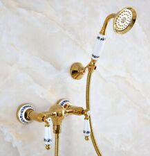 Gold Color Brass Bathroom Wall Mounted Hand Held Shower Faucet Mixer Tap
