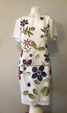 Celia Ryan 2 Piece Set Top & Pencil Skirt White & Floral Chiffon Size 12