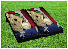 CORNHOLE BEANBAG TOSS GAME w Bags Game Boards Baseball USA Sports Set 979