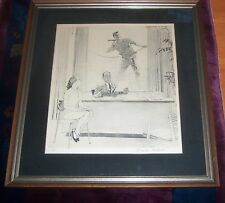 THE WINDOW WASHER NORMAN ROCKWELL HAND SIGNED & NUMBERED LITHOGRAPH POSTER