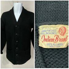 New listing Vintage 40s 50s Indian Brand Black Wool Cardigan Sweater Grandpa Pockets Heavy M