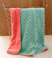 *Special* Mint Coral Dot Minky Baby Blanket Stroller Pram Crib Shower Gift