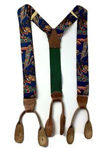 Polo Ralph Lauren Mens Suspenders Braces Leather & Silk  Vintage