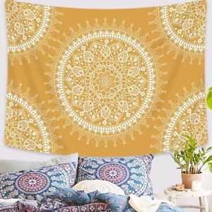 Yellow Mandala Tapestry Wall Hanging Print Tapestries Wall Blankets Home Decor