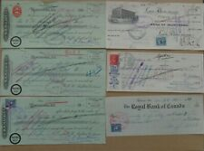6 Checks cheques 1928 to 1951 Canadian Businesses