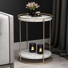 Contemporary Gold/Black Metal Frame 2 Tiers Marble/Wood Top Round Side Tables