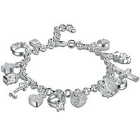 "13 PC Charm Bracelet Made with Swarovski Crystals - 18K White Gold 7.8"" ITALY"