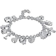 13 PC Charm Bracelet Made with Swarovski Crystals - 18K White Gold 7.8