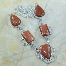 "Handmade Sun Sitara Goldstone Jasper 925 Sterling Silver Necklace 19.5"" B18822"