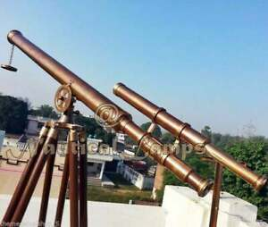 "Antique 39"" Brass Nautical Brown Telescope Double Barrel Tripod Stand FUNCTIONAL"