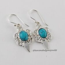 New Handmade Jewelry 925 Silver Turquoise Earring Solid Sterling Natural Stone