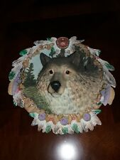 The Bradford Exchange 3D Plate, Wolf w/ Native American Feathers