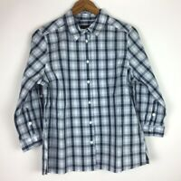 Pendleton Women's Size M Gray Blue White Shirt Button Front Plaid Long Sleeve