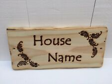 Handmade Personalised Farmhouse Wooden House Name Number Leaves Sign Plaque