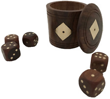 NEW HAND MADE WOODEN DICE CUP SHAKER POT WITH DICE - UK SELLER - FAST POSTAGE