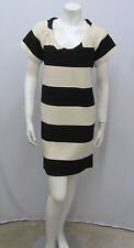 DIANE VON FURSTENBERG DRESS EL SHANE COTTON STRIPED IVORY & BLACK SIZE 6