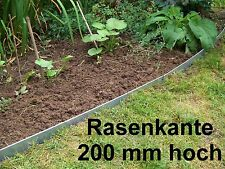 Rasenkante Beeteinfassung,200mm hoch aus Edelstahl V2A, Rasenkanten 1,25m lang