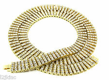 """Men's Gold Plated Iced Out 30"""" 4 Row  Hip-Hop Chain Necklace"""