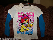 Angry Birds Fabulous Super Silly Feathers & Friends T-shirt Size 7/8 Girls NEW