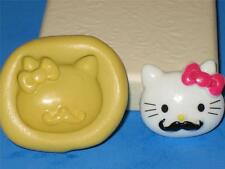 Hello Kitty Mustache Silicone Push Mold Food Safe Cake Chocolate Resin Clay A123